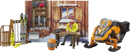 Bruder 63102 bworld Berghütte mit Snowmobil