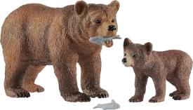 Schleich 42473 Grizzlybär-Mutter mit Jungem