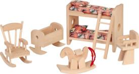Beluga 70114 Puppenhausmöbel Kinderzimmer, 6 teilig