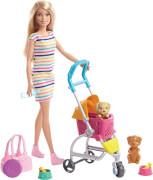 Mattel GHV92 Barbie Hundebuggy Spielset mit Puppe (blond)