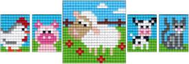 Pixel Bastelset 18 Huhn, Schwein, Kuh, Katze, Schaf
